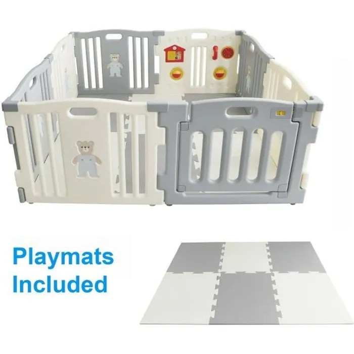 mcc parc pour bebes a 8 cotes avec panneau d activ