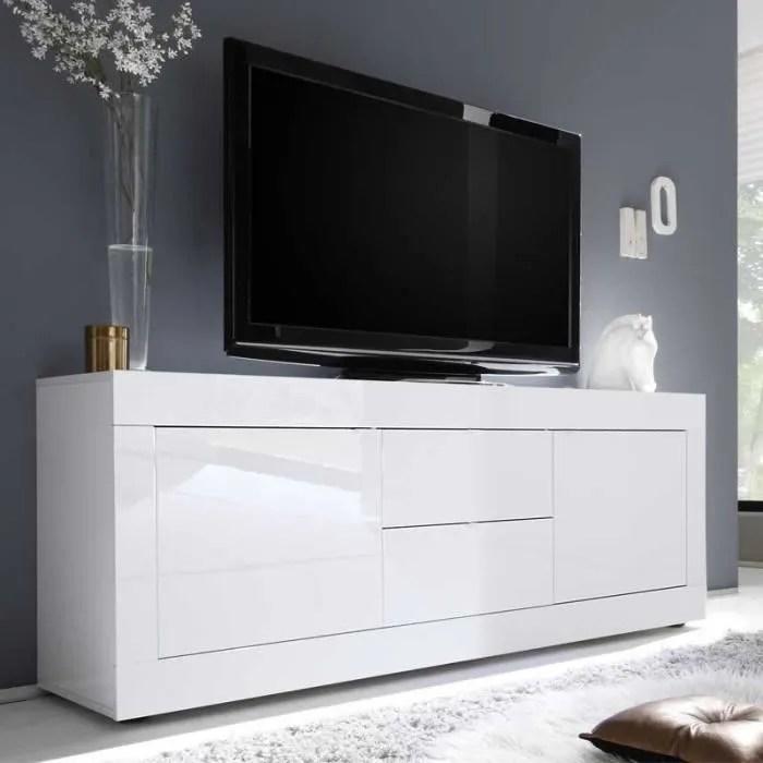 meuble tv 2 portes 2 tiroirs blanc laque brillant