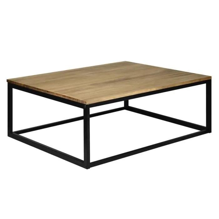 table basse icub style industriel vintage bois massif et metal 100x80x37 cm noir