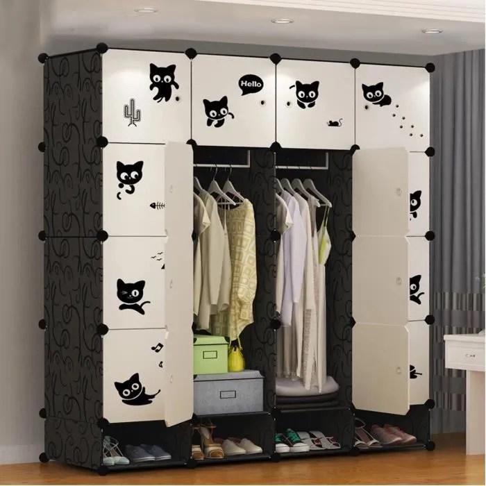 freosen armoire de chambre 16 cubes 4 cubes chaussures meuble rangement penderie plastique 16 cubes modulables noir blanc