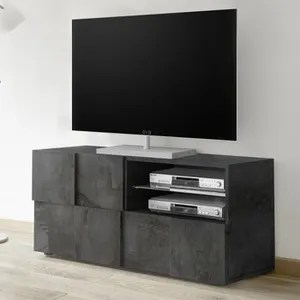 broadway meuble tv 2 portes noir l