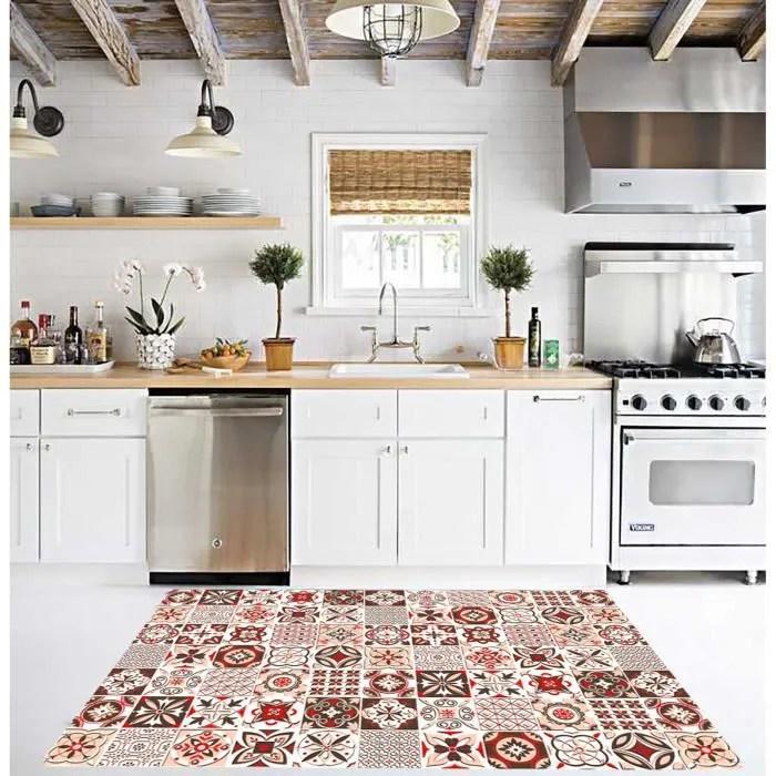 tapis trendy carreaux de ciment rouge marron antiderapant et lavable en machine 120x180cm