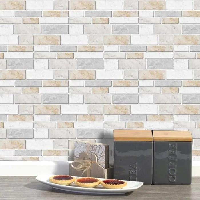 cuisine autocollants beige gris auto adhesif etanche salle bains carreaux mur stickers