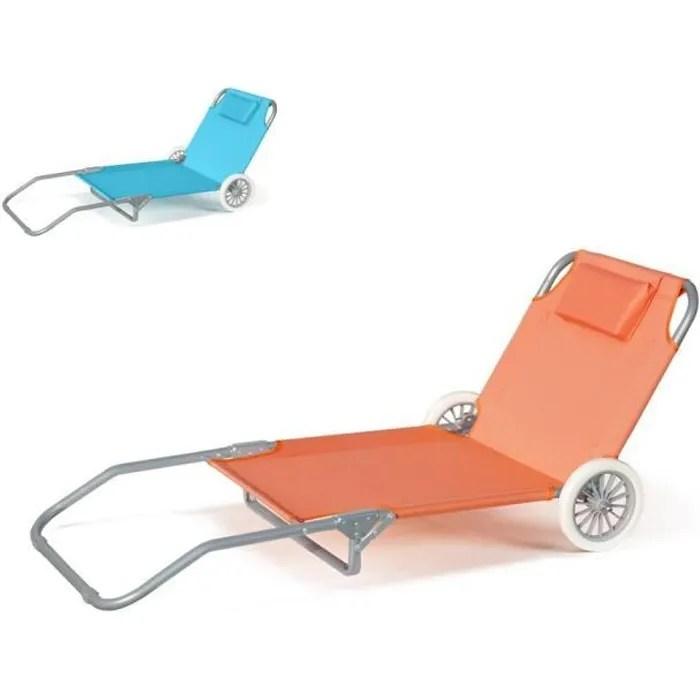 lit de plage pliant bain de soleil transat piscine portable roues banana couleur orange