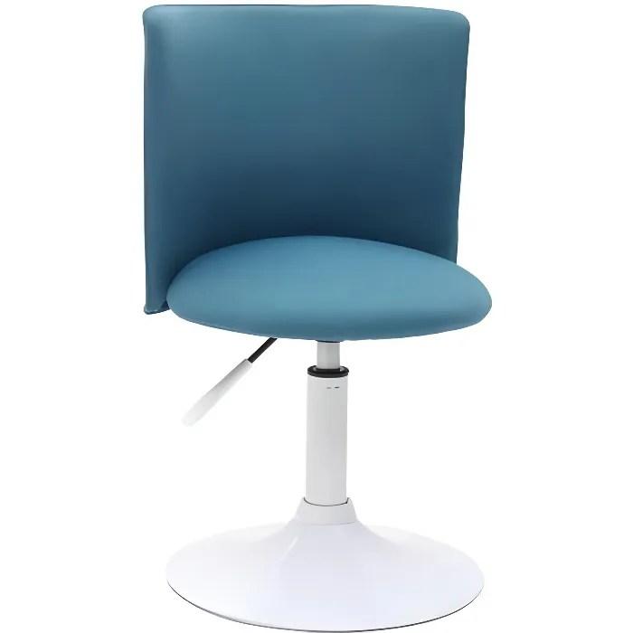 miliboo chaise de bureau enfant bleu canard et blanche new