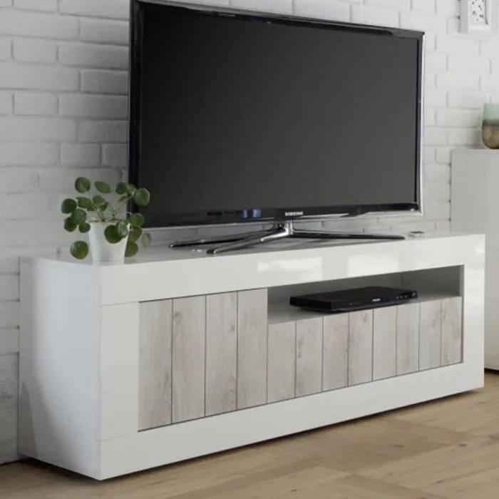 meuble tv blanc laque et couleur pin moderne mabel
