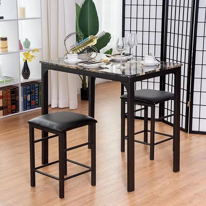 ensemble table et chaise pour salle a manger 1 table de cuisine et 2 chaises en mdf eponge charge max de chaise 100kg noir