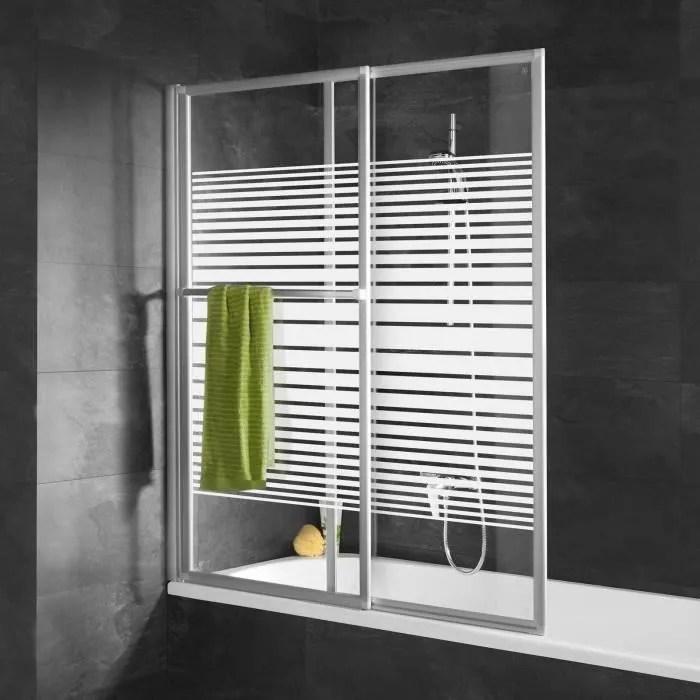 pare baignoire rabattable 70x118x140 cm paroi de baignoire coulissante 2 volets verre decor rayures profile alu nature schulte