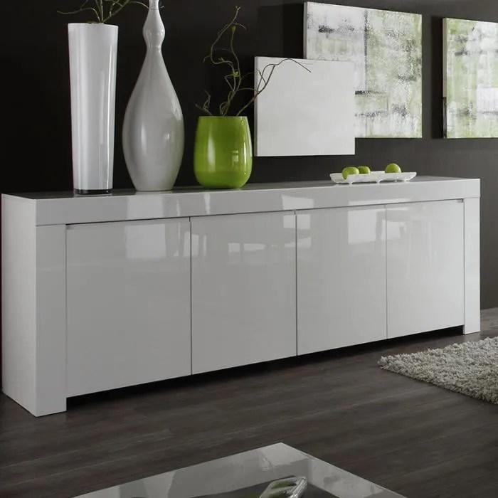 bahut design blanc laque tripoli 210 cm