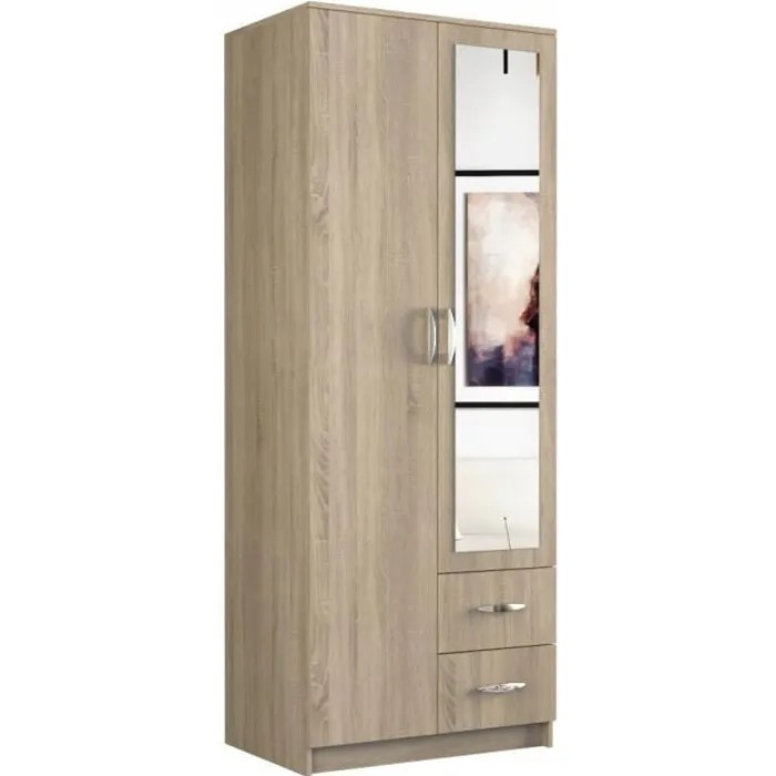 roma petite armoire chambre bureau penderie multifonctions 2 portes miroir 2 tiroirs meuble de rangement dressing