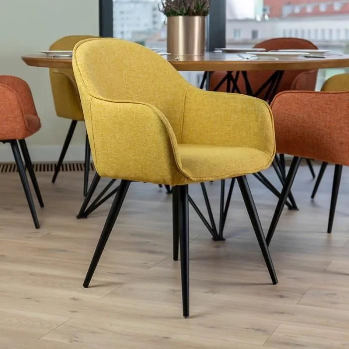 chaise salle a manger chaise tapissee bill jaune miel noir pieds en acier dossier arrondi accoudoirs