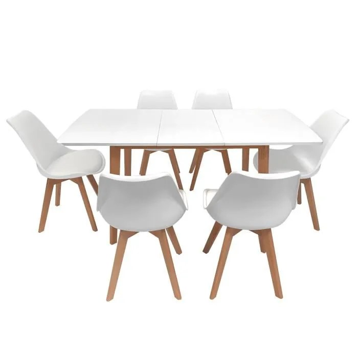 ensemble table extensible 120 160cm et 6 chaises s