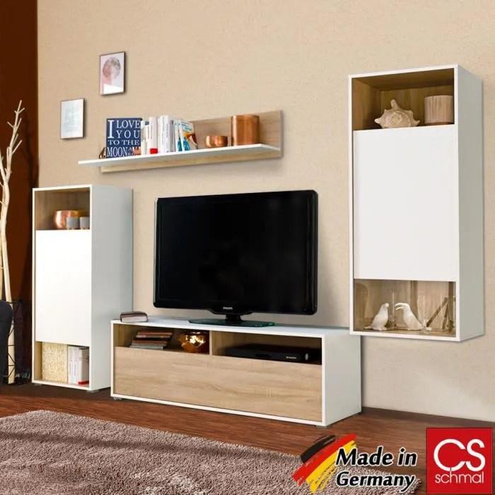 composition murale modulable blanc chene armoire placard etagere tv salon