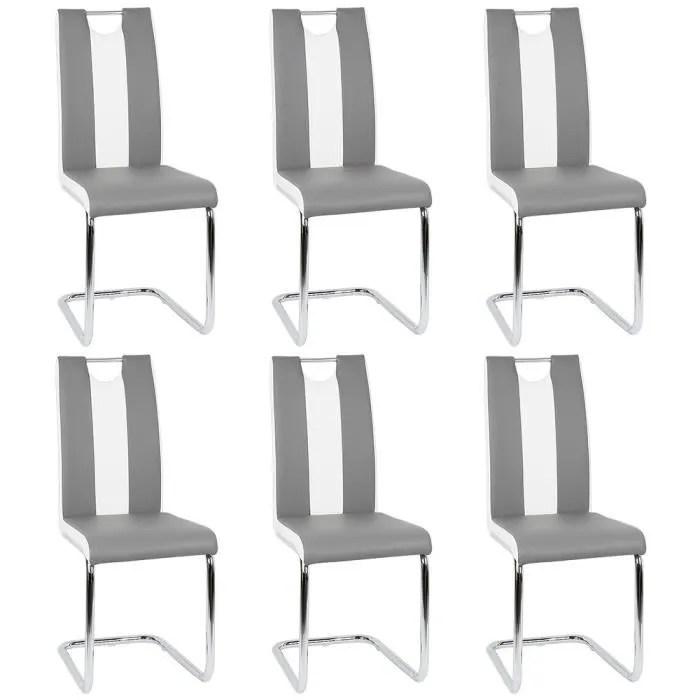 lot de 6 chaise salle a manger cuisine gris blanc similicuir bien rembourrage pieds en metal