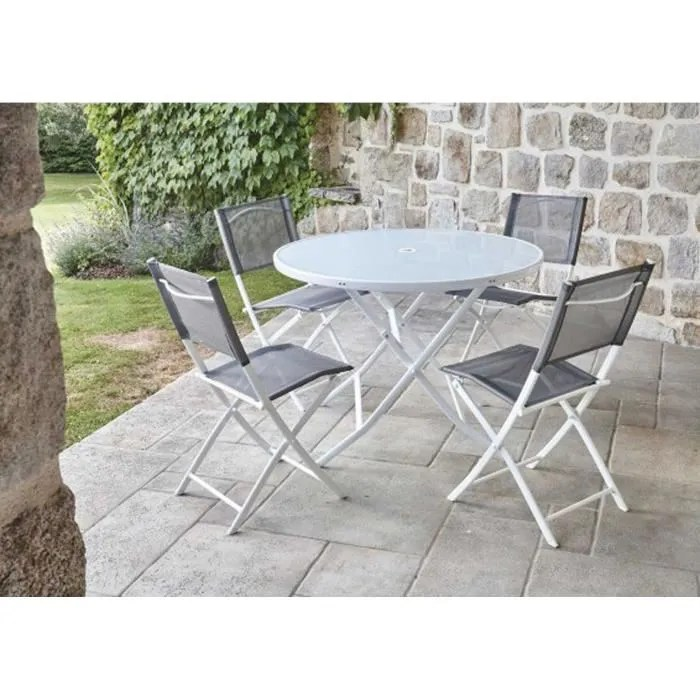 ensemble de jardin table ronde blanche