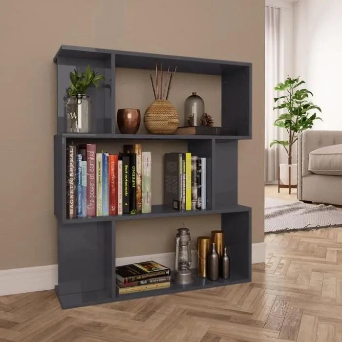 bibliotheque separateur de piece etagere de rangement meuble escalier gris brillant 80x24x96 cm
