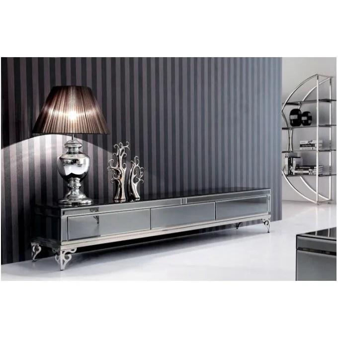 meuble tv baroque en verre trempe bora