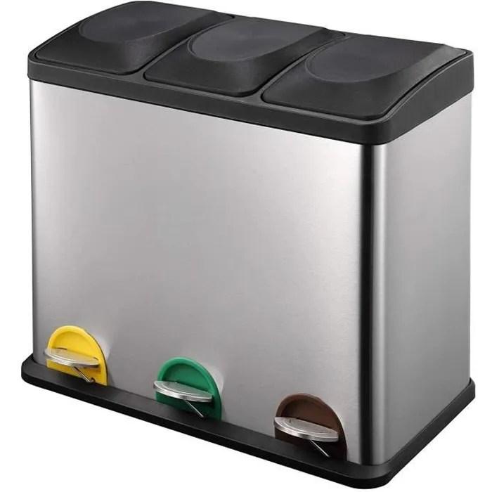kitchen move poubelle tri selectif a pedale zoe 45 l en acier inoxydable