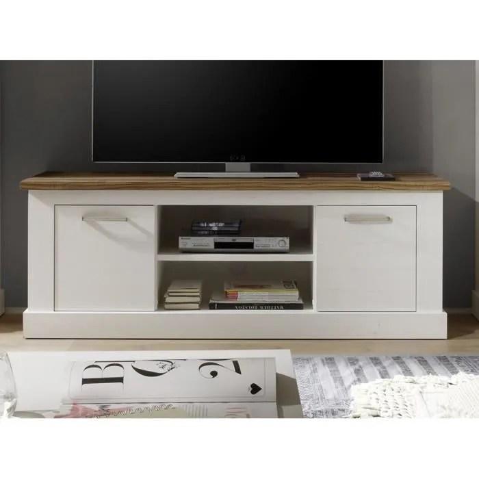 meuble tv 160 cm blanc et bois moderne
