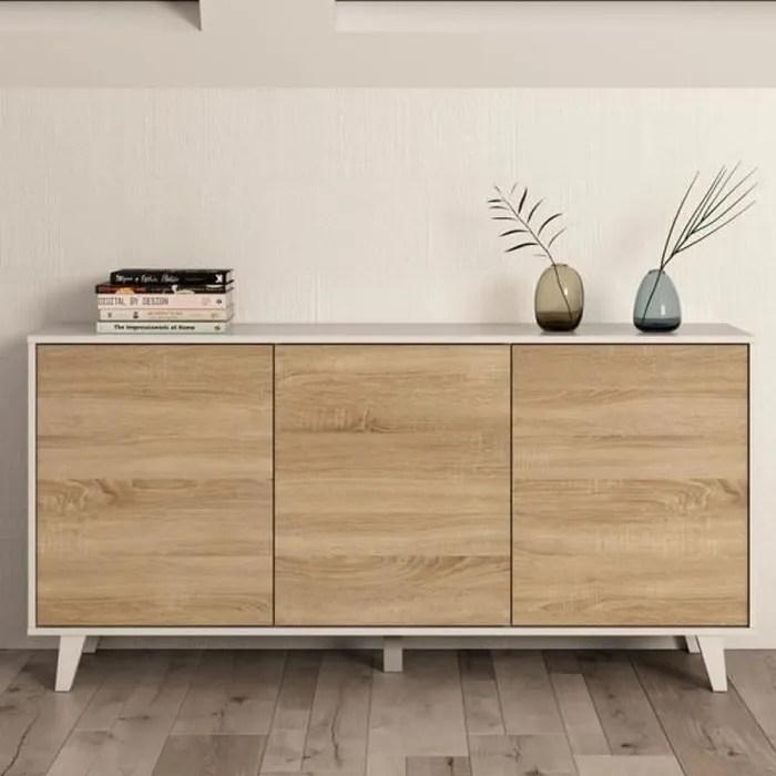 buffet 3 portes blanc brillant chene clair stockton bois clair bois l 154 x l 41 x h 75 cm buffet