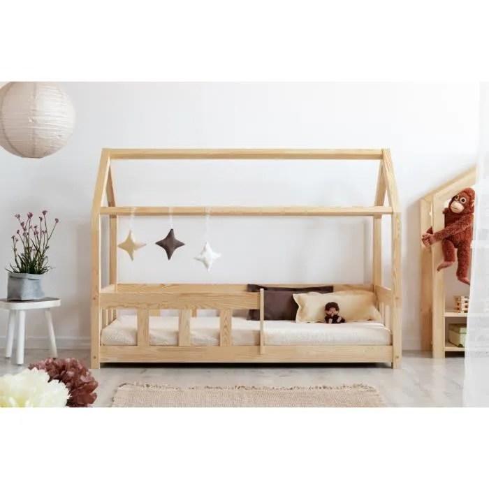 lit enfant 140 x 190 cm avec sommier type cabane en bois naturel modele mmbp
