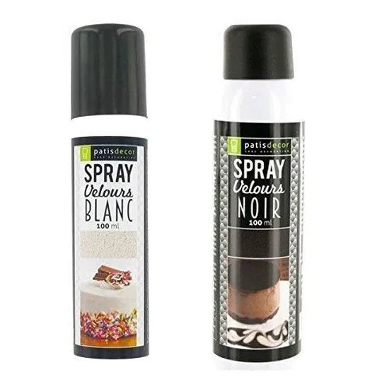 spray effet velours blanc noir