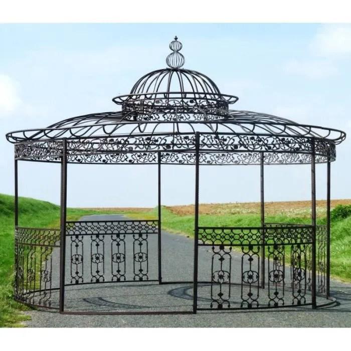 Majestueuse Tonnelle Kiosque De Jardin Pergola Abris Rond Kiosque En Fer Forge Et Fonte Marron 340x500x500cm Cdiscount Jardin