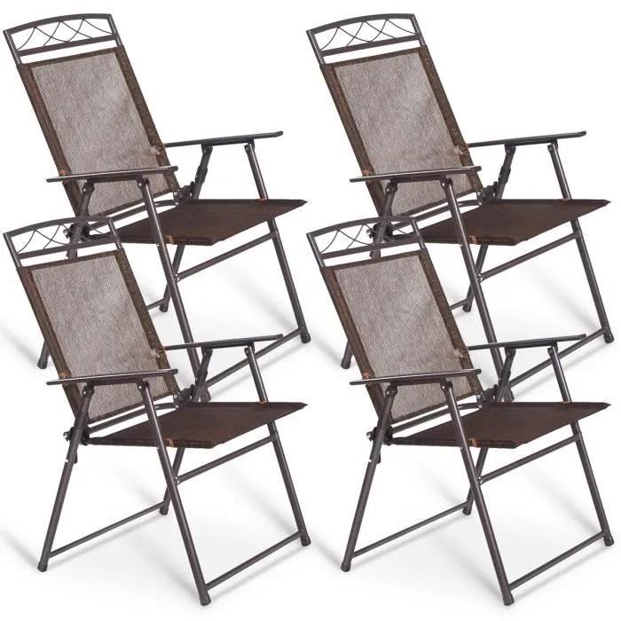 4 chaise de jardin pliable en fer forge