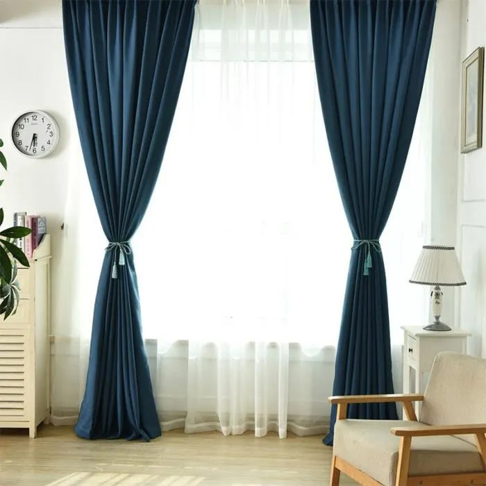 double rideaux occultants 135x240cm bleu chambre s