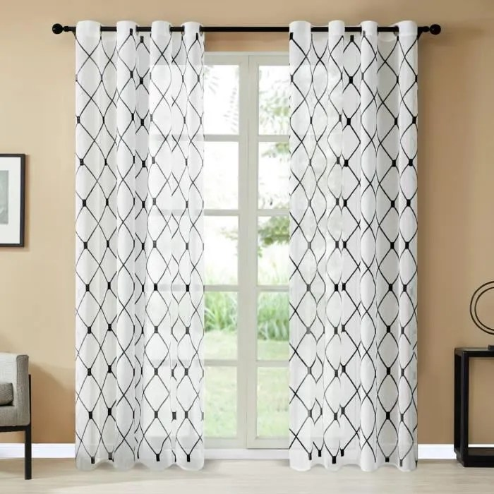 topfinel rideaux voilage noir a oeillets 140x180cm