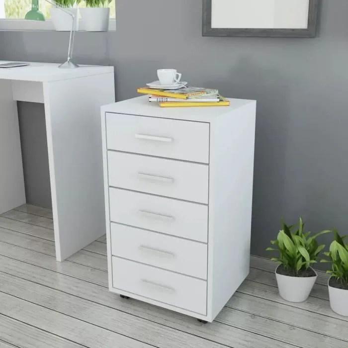 meuble de rangement caisson a tiroir de bureau avec roulettes et 5 tiroirs blanc