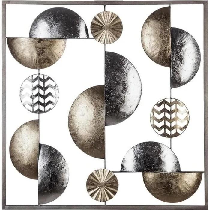 atmosphera decoration murale metal or argent 50x50 l 50 x l 3 x h 50 cm argente dore