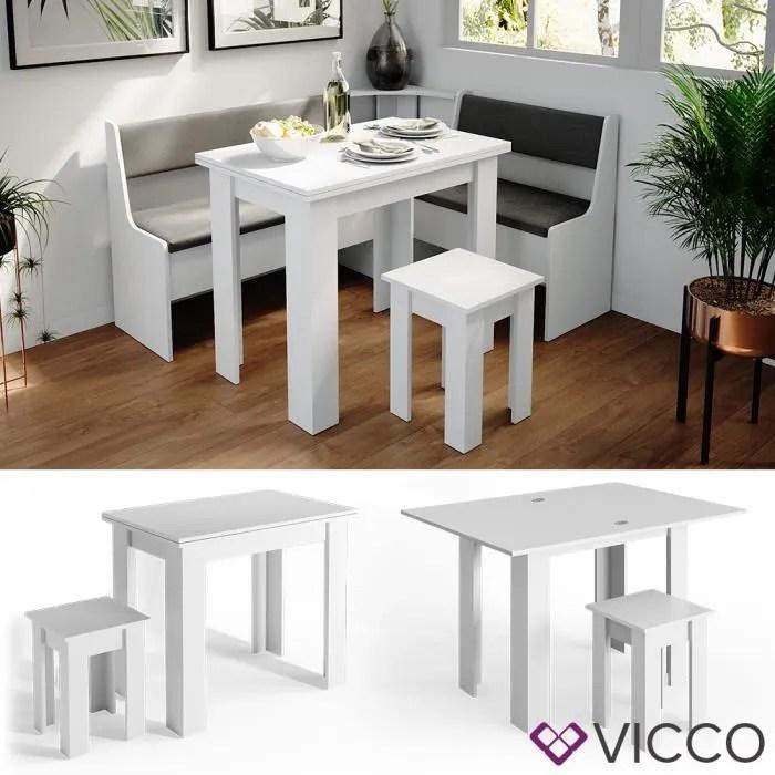 Vicco Table De Cuisine Roman Blanc Table A Manger 120x90cm Tabouret Groupe A Manger Cdiscount Maison