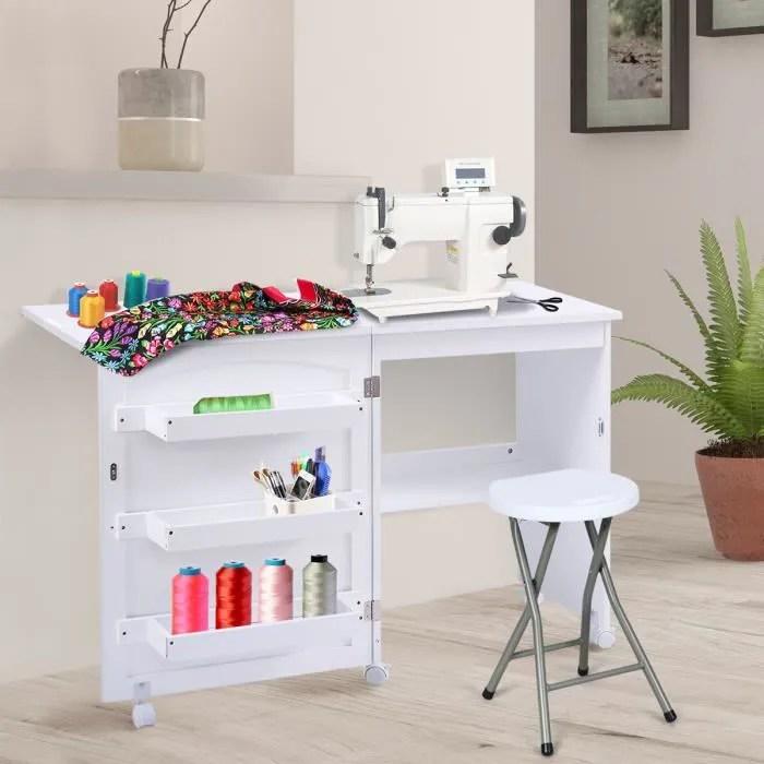 meuble pour machine a coudre table pliable avec 3 etageres pour bobines 117 x40x78 cm blanc plie comme une armoire