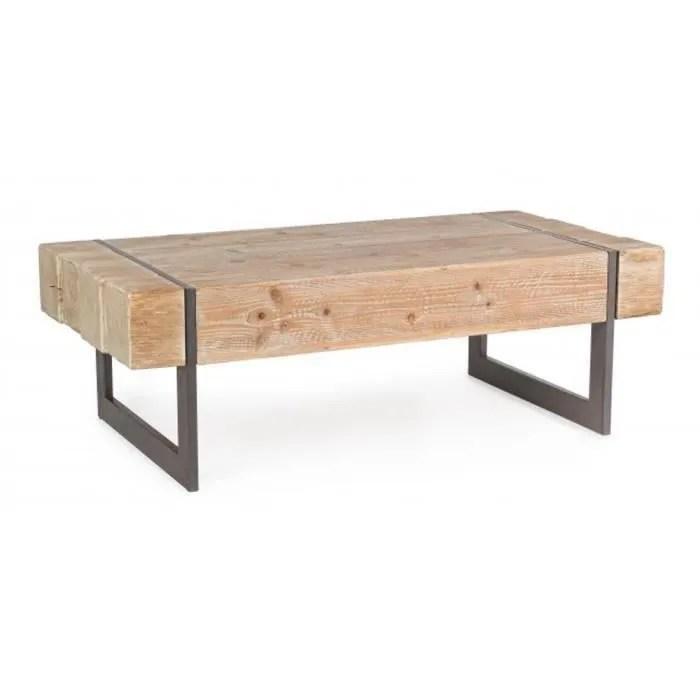 table basse en bois de sapin et fer dim l 120 x p 60 x h 40 cm
