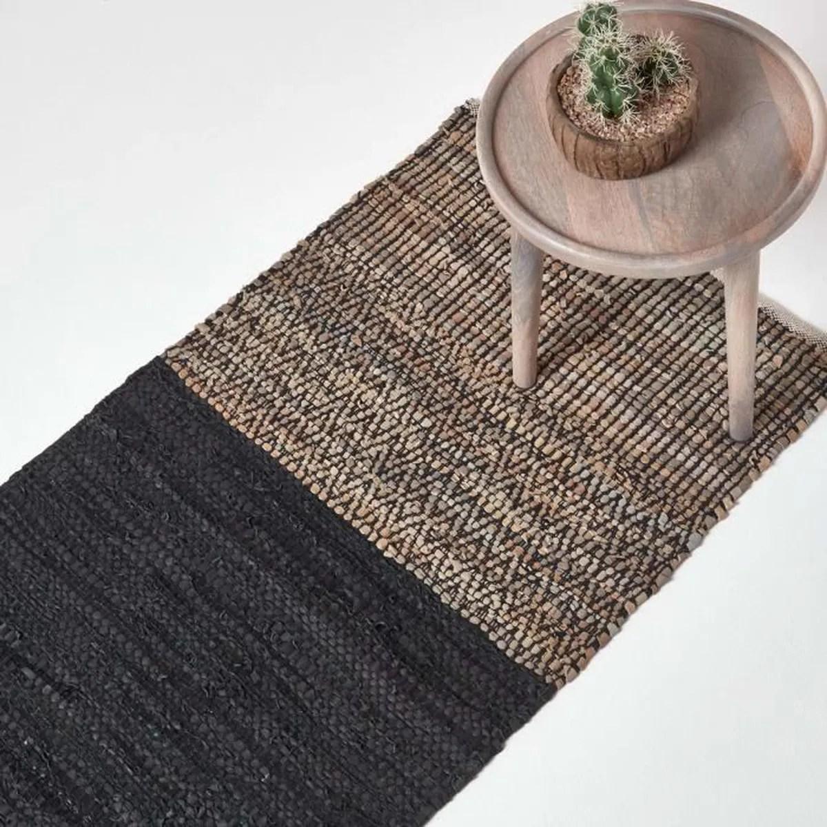 tapis de couloir en cuir recycle noir