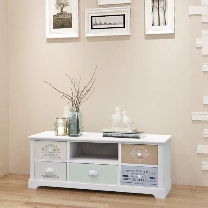 meuble tv table basse avec 5 tiroirs 100 x 35 x