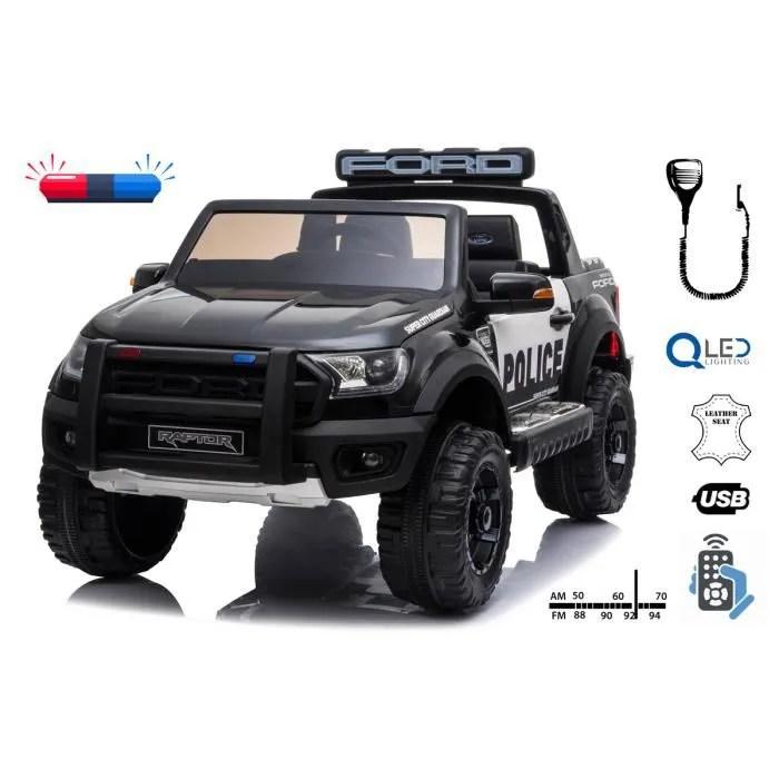 voiture electrique pour enfants police ford raptor jantes eva suspension de haute qualite double siege en cuir telecommande 2 4