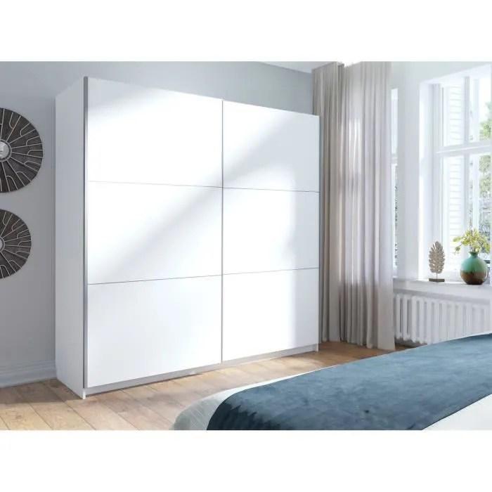 armoire garde robe arsala blanche 200 cm deux portes coulissantes dressing complet penderie et etageres type scandinave 62 blanc