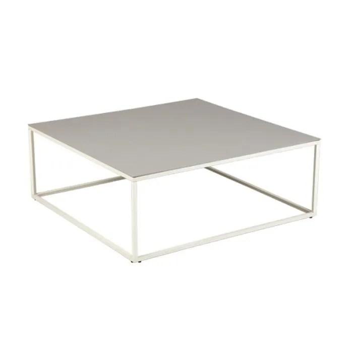table basse carree plateau ceramique gris clair dallas l 90 x l 90 x h 34 cm