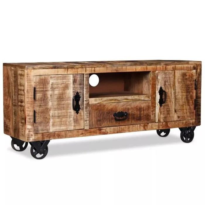 meuble tv meuble salon support tvavec 4 roulettes en fer bois de manguier brut 120 x 30 x 50 cm