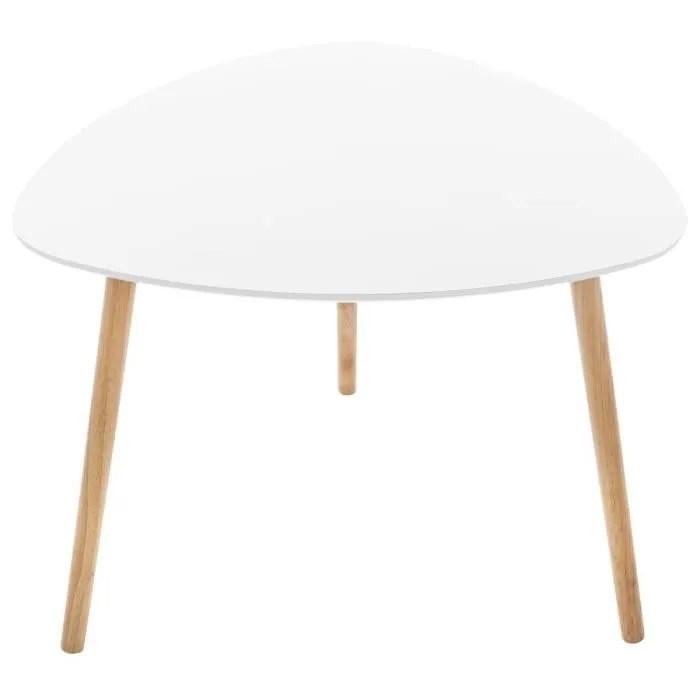 atmosphera table de cafe mileo blanche l 60 x l 60 x h 45 cm blanc