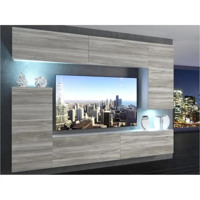 ensemble meuble mural tv en bois