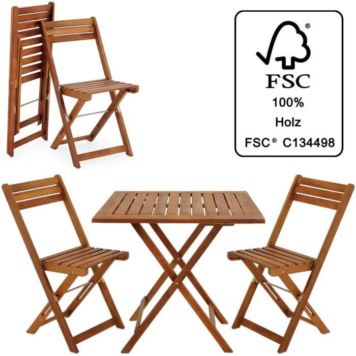 ensemble table et chaises 3 pcs balcon pliable salon de jardin en bois d acacia
