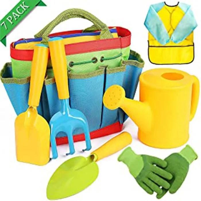 7 pieces outils jardinage enfant sac jardinage arrosoir outil jardin enfant pelle rateau beche tablier gants kit jardinage enfants