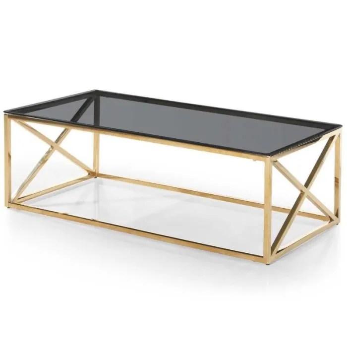 table basse verre design gladis 120cm or noir paris prix
