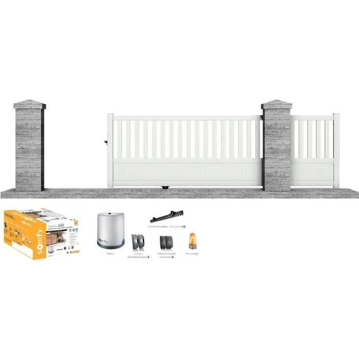 Portail Motorise Somfy Coulissant Aluminium Etna 3 5 M Blanc Clotura Cdiscount Bricolage