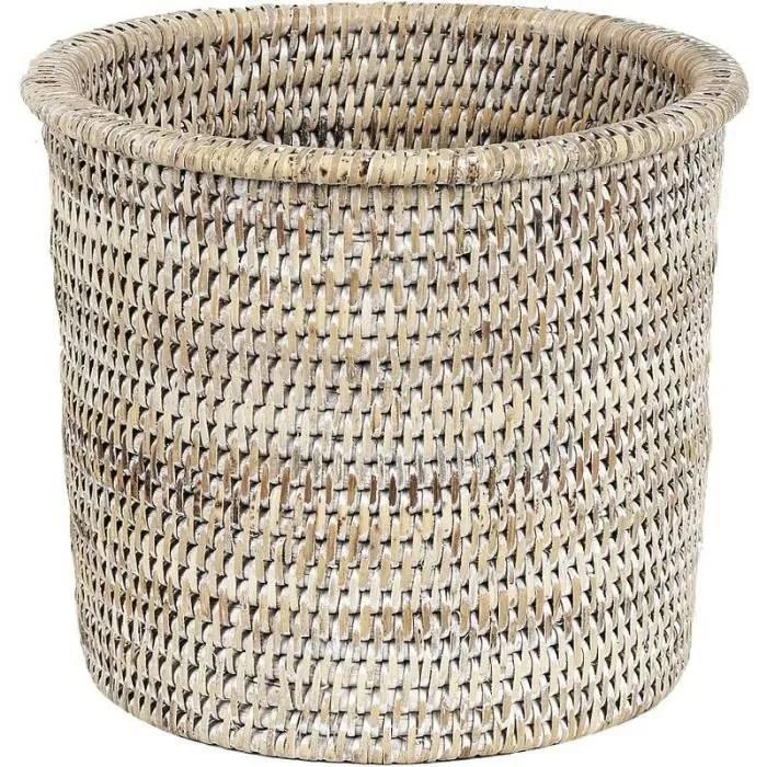 cache pots rond en rotin blanc