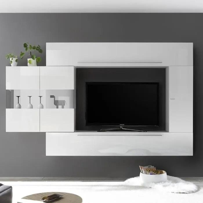 meuble mural tv blanc laque design salemi blanc l