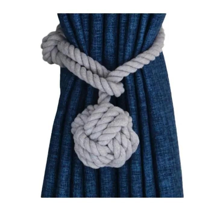 2pcs embrasses boucle a rideaux avec pompon tricot